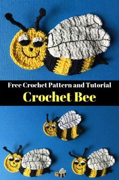Get the free crochet pattern for this crochet bee. Find this and many other crochet animal patterns at Kerri's Crochet. #FreeCrochetPattern #CrochetBee #CrochetAnimals
