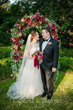 Jewel tone wedding. Lush wedding arch. Photography: Capture a Stanza  Coordination/Planning: Heather Benge Events  Flowers: F. Dellit Designs