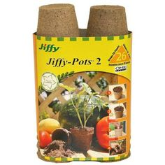 FERRY MORSE/JIFFY 26 Count Jiffy Pots * Jiffy peat products go straight from indoors to the ground or to a container without disturbing tender young roots * Genuine Jiffy pots and strips contain Canadian Sphagnum peat * Earth friendly * diameter