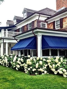Alex Papachristidis Hamptons House - Gorgeous navy awning & hydrangeas