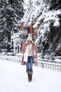 Atlantic Pacific Blogger // snow day, snow outfit, aspen fashion, burberry, pink plaid, sorel boots