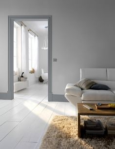 Whether it's a skirting board, interior door or window sill, introduce statement woodwork to rooms with a neutral colour palette for an instant transformation with our new GoodHome paint range. Interior Design Living Room, Living Room Designs, Interior Decorating, Decorating Ideas, Piece A Vivre, Grey Walls, Home Renovation, House Design, House Ideas
