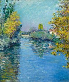 CAILLEBOTTE, GUSTAVE (Paris 1848 - 1894 Gennevilliers) Petit bras de la Seine, effet d'automne. 1890.
