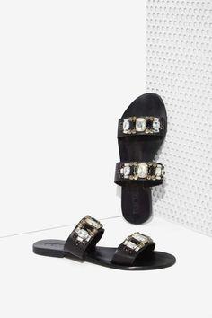Sol Sana Evie Leather Sandal - Black/White - Shoes