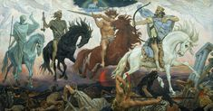 FOUR HORSEMEN OF THE APOCALYPSE are released and unleashed upon mankind. They symbolize conquest, war, famine and death. The four horsemen are to set a divine apocalypse upon the world as harbingers of the Last Judgment. Les Quatre Cavaliers, Folklore Russe, Guerra Total, Art Magique, La Sainte Bible, Apocalypse Art, The Seventh Seal, Pale Horse, Art Ancien