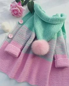Crochet Patterns For Kids Sweaters Baby Cardigan 29 Ideas Knitting Terms, Knitting For Kids, Crochet For Kids, Knitting Projects, Crochet Baby, Knit Crochet, Crochet Shoes, Knitting Needles, Start Knitting
