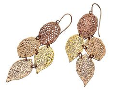 rose gold 24 karat plated earringsstatement leaf by inbarshahak, $79.00