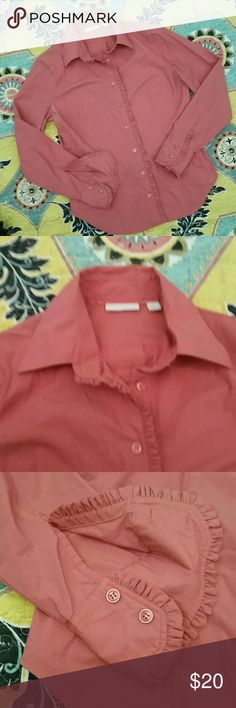 Ruffle accented blouse by NY&CO Beautiful melon orange button up by NY&CO in cotton poly spandex with a slight metallic sheen. Ruffle details at the placket and the sleeves give this interest. Beautiful for fall! BOGO free anything in the closet! Bundle and save! New York & Company Tops Button Down Shirts