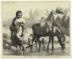 """Art and Picture Collection, The New York Public Library. """"Donkey Drinking From A Body Of Water, Person Wading In Water."""" The New York Public Library Digital Collections. 1882. Courtesy of The New York Public Library (USA). www.nypl.org"""