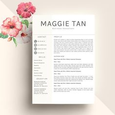 Modern Resume Template, Modern Cover Letter Reference Letter MS Word 1 Page Professional Creative Resume Design Mac Pc, Lebenslauf by Resumeland on Etsy Creative Cv Template, Template Cv, One Page Resume Template, College Resume Template, Modern Resume Template, Executive Resume Template, Resume Words Skills, Teaching Resume, Letter Icon