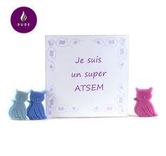 """Coffret Fondants Parfumés """"Je suis un Super ATSEM """" 15 Petits chats cire végétale pour brûle parfum"""