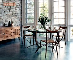 wonder if our living room could use one interior stone wall Glass Dining Table, Dining Room, Dining Area, Table Furniture, Home Furniture, Acid Stained Concrete Floors, Design My Kitchen, Sweet Home, Moroccan Design