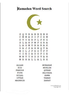 A Crafty Arab: Ramadan Word Search {Free Printable}. Today we took a break from crafting so I created a Ramadan word Search for the girls to do. I figured it would keep them busy for at least a little while. Hope you enjoy it too.