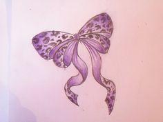 Bow Tattoo. I love the cheetah print. Purple Ribbon Tattoos, Girly Tattoos, Bow Tattoos, Garter Tattoos, Cheetah Print Tattoos, Pretty Tattoos, Cute Tattoos, Sexy Tattoos, Awesome Tattoos