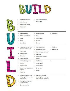 B.U.I.L.D-- B Buddy Games U Using Manipulatives I Independent Reading/Work L Learning About Numbers D Doing Math