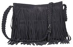 ILISHOP Women's Celebrity Fringe Tassel Faux Suede Shoulder Bag Messenger Cross-body Tote Handbags For Lady