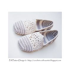 LACE and STRIPE SLIPPERS/ESPADRILLES **This listing is for a CROCHET PATTERN. You are not buying a finished product! INSTANT DOWNLOAD PDF** *The basic Crochet Slipper Pattern; No in- or out-soles included* One-piece, toe-up! White and grey in perfect harmony. Somehow most of us love laces! This one is bold and simple, romantic but modern; Lace combined with stripes! Wonderful to slip into on cool summer evenings. Make your lace-slippers in your favorite colors! The simple design of Espad...
