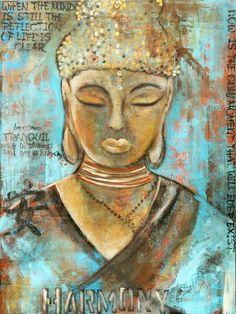 Harmony Buddha by erinashleyart on Etsy Buddha Zen, Gautama Buddha, Buddha Buddhism, Buddhist Wisdom, Buddhist Symbols, Buddha Sculpture, Artwork, Mindfulness, Yoga