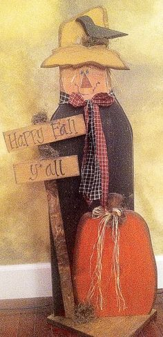 Happy Fall Y'all Large Standing Scarecrow from Pattern Mart Primitive Scarecrows, Fall Scarecrows, Primitive Fall, Primitive Crafts, Primitive Christmas, Fall Wood Crafts, Autumn Crafts, Autumn Art, Fall Halloween