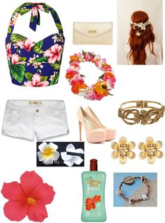 """hawaiian party ❤"" by nicoleyokota ❤ liked on Polyvore"