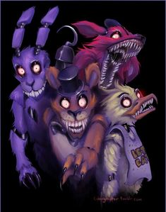 Part IV- Bonnie, Chica, Foxy  Chica and bonnie were stuffed with two of the five souls.  After years of being trapped inside a dark animatronic suit without being able to rest, drove them insane.  Foxy was stuffed with one of the five souls as well.  He doesn't want to kill Mike, but accidentally does by scaring him to death.  He is nothing but lonely.  Part V is purple guy