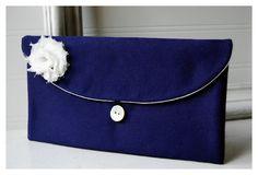 blue navy Bridesmaids Clutch purse Bridal Wedding satin by hoganfe,