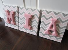 Add letters to canvas or wooden boards for a 3D effect.   Bedroom, name, event, wedding, memories, love, nursery, ideas