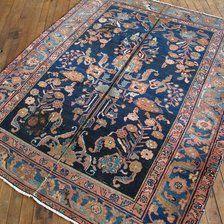 "Antique Persian Lilihan Rug 4'8""x5'6"" - Hunttrugs"