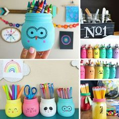 Loving these painted mason jars that can be used as pencil pots! # DIY Gifts with pictures These Adorable DIY Painted Mason Jars Make Great Teacher Gifts Kids Crafts, Diy And Crafts Sewing, Easy Diy Crafts, Cute Crafts, Diy Crafts To Sell, Diy Crafts For Kids, Handmade Crafts, Kids Diy, Sell Diy