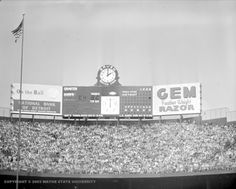 Scoreboard at a Lions' game at Tiger Stadium (then Briggs Stadium). Circa On this day in the final game at Tiger Stadium was played. Detroit Tigers Baseball, Detroit Lions, Football, Baseball Scoreboard, Dad Pictures, Tiger Stadium, Wayne State University, Detroit History, American Football