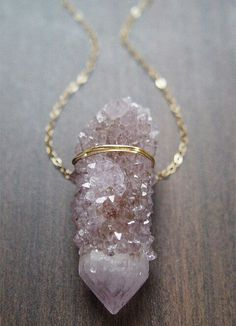 Raw gemstone gold necklace
