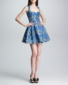 Sweetheart-Neck Floral Fit-and-Flare Dress, Blue by RED Valentino at Neiman Marcus.