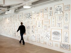 At Airbnb HQ, A Wall Filled With Hand-Illustrations Of Employee Experiences - DesignTAXI.com