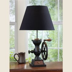 Coffee Grinder Lamp with Shade. Reproduced from a late century black cast iron coffee grinder with wheel. Features the same wooden base, working drawer and wheel handle as the original costly and hard to find antique. watts)Dimensions: x x Farmhouse Table Lamps, Rustic Lamps, Rustic Lighting, Farmhouse Kitchen Decor, Rustic Decor, Rustic Cafe, Rustic Logo, Rustic Bench, Rustic Chandelier