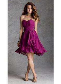 A line Sweetheart Chiffon Knee Length Bridesmaid Dresses