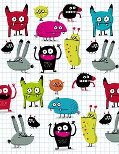 Elise Gravel illustration • #monster #pattern #cute #drawing #children #fun