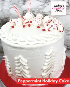 You can create a beautiful cake by making easy snow trees along with peppermint candies. Get all the details on link