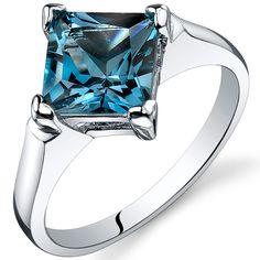 2 cts Princess Cut London Blue Topaz Sterling Silver Ring SR10484