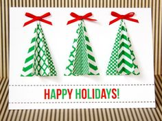 HGTV's handmade holiday experts share free printable gift tag templates, patterns for handmade Christmas cards, craft ideas and more. Handmade Christmas Tree, Homemade Christmas Cards, Christmas Tree Cards, Xmas Cards, Homemade Cards, Christmas Crafts, Christmas Colors, Cards Diy, Christmas Images