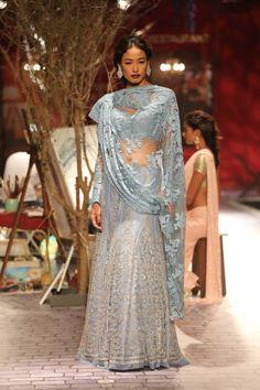 Monisha Jaising Light Blue #Lehenga With Lace Dupatta.