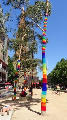 Yarn Corner at City Square - bottom half of first tree is mine. A lot of work but I will have to do more next year.