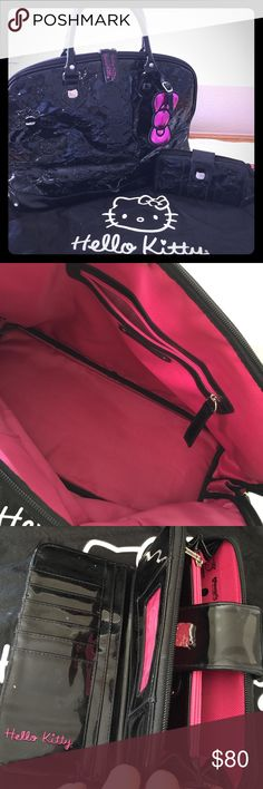 """Black """"Hello Kitty"""" X-Large Travel Bag & Wallet Pre-Owned like new Black """"Hello Kitty"""" X-Large Size Bag/Travel Bag W/ Matching Wallet. Selling as a set only... Well taken care of Comes with Dust Bag- {BEST FOR TRAVELING/ CARRY ON} Hello Kitty Bags Travel Bags"""
