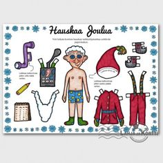 Joulukortti - paperinukke - tarkkailijatonttu Very Merry Christmas, Kids Christmas, Holiday Activities, Activities For Kids, Santa And Reindeer, All Paper, Paper Dolls, Comics, Google