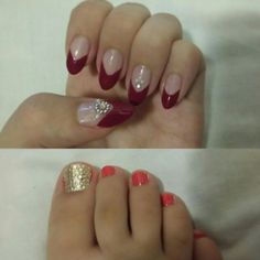 #manicure #pedicure #red #orange #gold