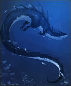 Ymjaur Nathawol, a very unusual water dragon, having small legs, from the Talmiron sea on its way through the Osmiron strait.