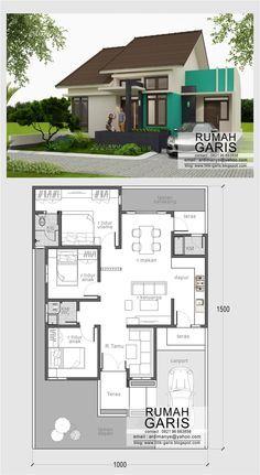 denah dan tampak rumah sederhana minimalis tipe rumah 90 m2 di lahan 10x15 meter…