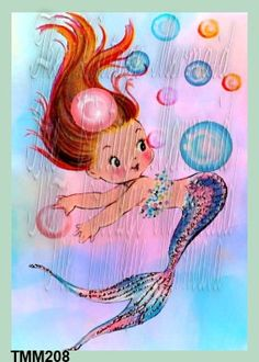 Bubbly MERBABY FABRIC Block Quilting Applique Baby Mermaid Quilt block  5x7 (TMM208) by QUILTFABRICBLOCKS on Etsy