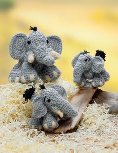 """Elephants (in DK, Worsted, and Chunky Yarns) from the book """"Crochet A Zoo"""""""