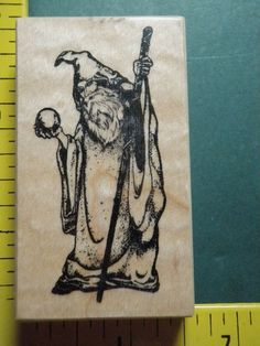 PSX WIZARD STAFF SPHERE SPELL MAGIC FANTASY MEDIEVAL RARE Rubber Stamp