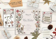 illustrations by Hackney & Co Design house. Produced by Craft Consortium Co Design, Decoupage Paper, Create And Craft, Diy Wedding, Woodland, Card Making, Paper Crafts, Stamp, Scrapbook